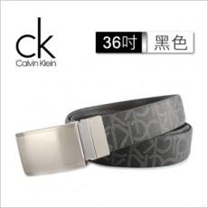 【Calvin Klein】新款滿版LOGO兩用扣式皮帶 36吋(黑色)103460