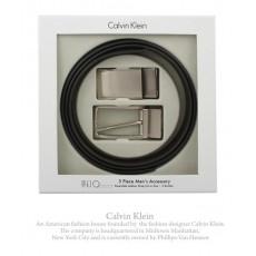 Calvin Klein經典LOGO霧面替換式皮帶禮盒組 (咖啡色)103401-1