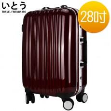 【EQ2001-11】正品ITO 日本伊藤潮牌 28吋 PC+ABS鏡面鋁框硬殼行李箱 08系列-酒紅色