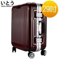 【EQ9001-04】正品ITO 日本伊藤潮牌 29吋 ABS+PC 鏡面鋁框硬殼行李箱 2195系列-酒紅色