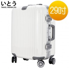 【EQ9001-06】正品ITO 日本伊藤潮牌 29吋 ABS+PC 鏡面鋁框硬殼行李箱 2195系列-白色