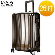 【038044-02】正品ITO 日本伊藤潮牌 26吋 ABS+PC鏡面鋁框硬殼行李箱 2133系列-古銅