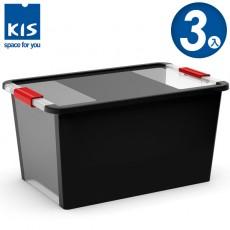【012014-01】義大利 KIS BI BOX 單開收納箱 L 黑色 3入
