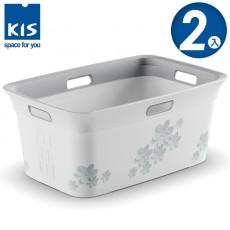 【012018-01】義大利 KIS 洗衣收納籃 45L FLOWER CREY系列 2入