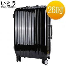 【038051-02】正品ITO 日本伊藤潮牌 26吋 PC+ABS鏡面鋁框硬殼行李箱 08密碼鎖系列-黑色