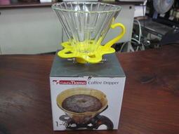 苗慄咖啡-Tiamo V02 玻璃濾杯組(直線條) 紅色 附量匙 2-4杯份 (5色)