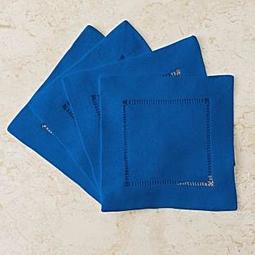 全新美國 Ralph Lauren Home 藍色四件杯墊組禮盒(Cocktail Napkin) ,下標就賣!免運費!