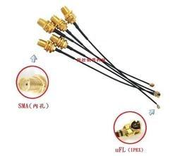 【微控制器科技】 RF天線轉接頭: uFL、u.FL、IPX、IPEX  轉 SMA (內孔)、長 15cm、50cm