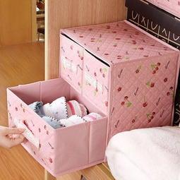 二層三抽其它居家家 粉色櫻桃無紡布抽屜式衣物收納盒 內衣毛衣儲物箱整理箱