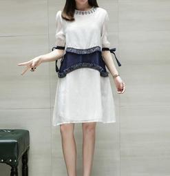中大尺碼XL-5XL休閒洋裝T裙連身裙23632季新款時尚氣質韓版拼接泡泡紗雪紡