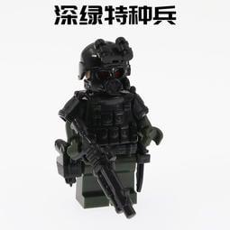 高積木 特種兵1B 深綠色特種兵 散彈槍 戰術背心 配刀 防彈背心 士兵 軍事二戰 特種部隊 SWAT 非樂高LEGO
