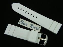 錶帶屋 高級矽膠白色錶帶24mm有效替代同規格panerai IWC 及各品牌潛水 運動手錶