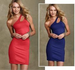 【菲菲美國舖】新品現貨~* Victorias Secret *~Bra Top豐挺美麗。單肩細身版彈性棉質洋裝
