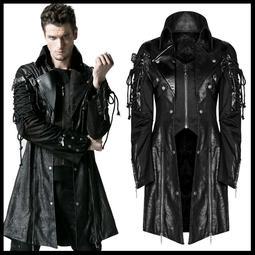 *MINI PUNK LOLO*黑暗龐克視覺-戰神世紀異材質拼接皮革扣帶立領綁繩外套(Y-349.男款)PUNK