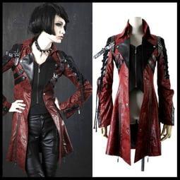 *mini & PUNK LOLO*黑暗龐克視覺-戰神世紀異材質拼接皮革扣帶立領綁繩外套(紅色.Y-349.男/女)
