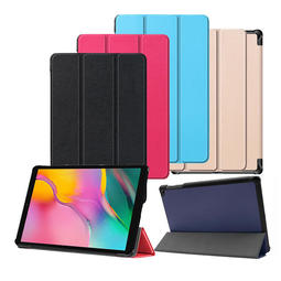 (送保護貼)三星 Galaxy Tab A 10.1吋 2019 輕薄 卡斯特紋 三折保護套平板皮套 T510 T515