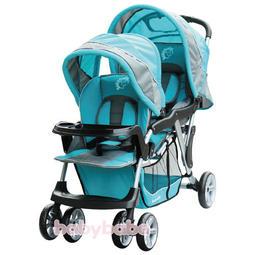 恩典滿溢小舖 [babybabe] B329歐風雙人嬰兒手推車**藍色**