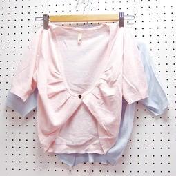 享久OUTLET-棉質木釦薄款短袖針織外套。粉藍2色 現貨【B-00047】