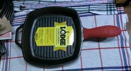 美國製Lodge L8SGP3鑄鐵鍋+矽膠隔熱套/荷蘭鍋/牛排煎鍋/ Square Grill Pan 條紋平底鍋