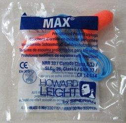 @安全防護@ HOWARD LEIGHT MAX-30鐘形帶線防音耳塞 33dB 預防噪音 保護聽力