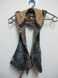 【AUNT衣櫃】二手 復古 古著 迷彩 牛仔 連帽 綁帶 背心
