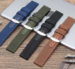 錶帶屋 22mm 24mm 直身尼龍錶帶帆布錶帶帆布帶代用 HAMILTON 漢米頓PANERAI 沛納海 SEIKO
