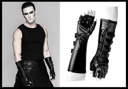 *MINI PUNK LOLO*龐克搖滾視覺-刺客密令暗影殺手網紗皮革拼接鉚釘多扣帶個性造型手套(S-214)PUNK