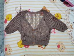 女性 女孩 針織衫 針織外套 咖啡色 短袖 外撘 外罩 秋天 V領 鈕扣 扣子 扣式 撘配 小朋友可穿 小孩