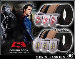[免運費] 蝙蝠俠對超人 正義曙光 LOGO 帆布皮帶 皮革腰帶 皮扣環 男 女 媲美 stage levis boss