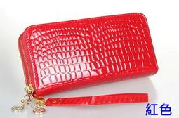 『GO Life』現貨 新款韓版 女 錢包長款潮漆皮亮面 雙拉鍊包 手拿包 女皮夾 長夾 紅/黑/玫3色