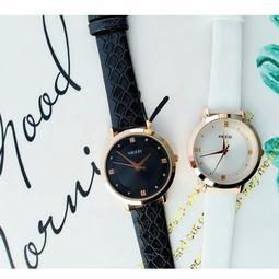 【KEZZI珂紫】腕錶石英錶 CK風格大錶徑皮帶錶 金框+黑白錶面 超優質感文青錶 男神女神 可搭配情侶對錶K1028G