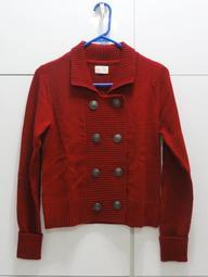 二手 (女) lativ 學院風 雙排扣羊毛毛衣外套 (M號) (暗紅) 出清價250元
