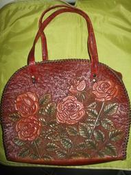 純手工精緻真皮皮雕手提包/側肩背包特價出清
