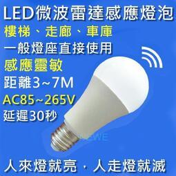 e27 5w led 微波雷達 人體感應智慧燈泡 車庫走廊 感應節能燈 紅外線感應燈座 防盜、警示、照明、無線、很省電
