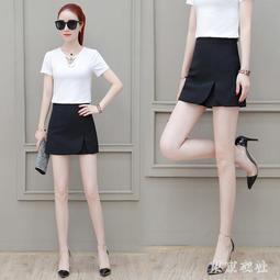 黑色短褲春秋新款顯瘦高腰職業時尚短款休閒工裝寬鬆裙褲子21263