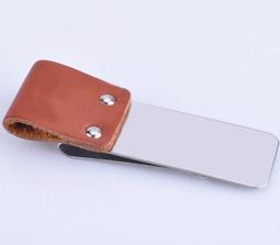 (現貨) Z-027 棕色+不銹鋼 真皮錢夾 鈔票夾 復古筆夾 多功能卡夾 記事本伴侶 精巧實用 耐磨耐用 兩色可選