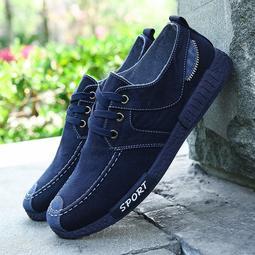 男士時尚潮流帆布鞋水洗牛仔布休閑韓版鞋男板鞋懶人鞋老北京布鞋