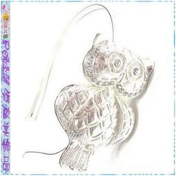 ☆POLLY媽☆歐美進口鑲嵌水鑽大型貓頭鷹(5.5×8cm)銀色金屬窄版髮箍