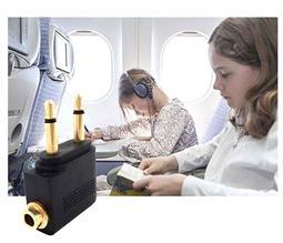 (全註塑-新型) 飛機專用耳機音源轉接頭 飛機頭 航空耳機轉換插頭 飛機接頭 耳機轉換插頭3.5mm 飛機專用 音頻轉接