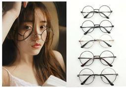 【送眼鏡袋、鏡布】眼鏡 復古正圓框 阿拉蕾小清新復古圓型金屬框金屬大圓框眼鏡 平光造型眼鏡框
