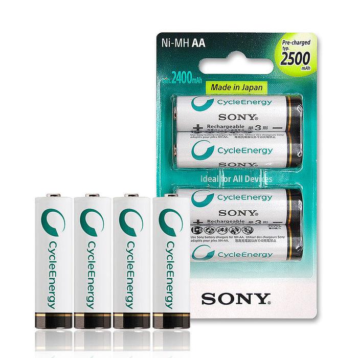 【日本製,加贈電池收納盒】SONY 低自放3號新型2500mAh充電電池(4顆入)