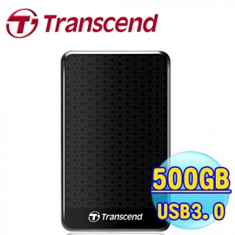 創見 StoreJet 25A3 500GB USB3.0 2.5吋纖薄抗震行動硬碟 (TS500GSJ25A3K) 黑色