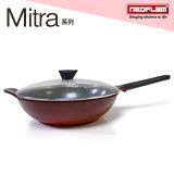 韓國NEOFLAM Mitra系列 34cm陶瓷不沾炒鍋+玻璃鍋蓋(EK-MT-W34)