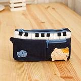 【貝斯貓】(ABS)拼布零錢包/手拿包/証件包/化妝包88-176 深藍