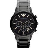 ARMANI 王者時尚家三眼計時腕錶-IP黑 AR2453