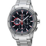 SEIKO SOLAR 封火線極速計時腕錶-黑/銀 V175-0BW0D