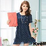 【KVOLL中大尺碼】藍色印花收腰顯瘦雪紡連衣裙