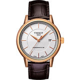 TISSOT Carson Powermatic 80 經典機械腕錶-銀X玫塊金 T0854073601100
