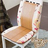 【奶油獅】高支撐記憶聚合-搖滾星星紙纖餐椅墊+護腰墊-米白(一組)