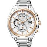 CITIZEN Eco-Drive 超級【鈦】計時腕錶-銀/雙色版 CA0356-55A